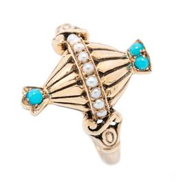 Sale 9221 - Lot 339 - A 9CT GOLD VICTORIAN STYLE TURQUOISE AND PEARL RING; urn design set with turquoise beads and seed pearls to scroll shoulders, width...