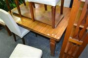 Sale 8115 - Lot 1059 - Timber Extension Dining Table w Single Leaf & Winder on Castors