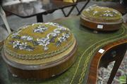 Sale 8359 - Lot 1068 - Pair of Victorian Round Walnut Footstools, with glass beaded upholstery (some losses)