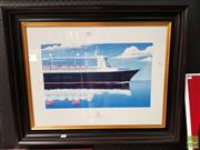Sale 8474 - Lot 2042 - Andrew Davidson - Cunard, Queen Mary II 29 x 48cm