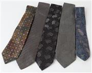 Sale 8550F - Lot 160 - A group of five silk ties all in blue, black and grey colours including Kenzo, D&G and Christian Dior.