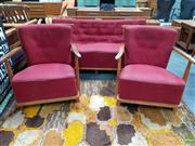Sale 8585 - Lot 1017 - Danish Blondewood Three Piece Lounge Suite