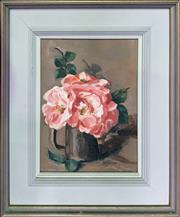 Sale 8668 - Lot 2037 - Colin Moore - Flower Study, 1970, oil on canvas board, 53.5 x 34.5cm (frame size), signed lower right, plus another original oil stil.