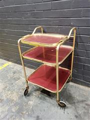 Sale 9022 - Lot 1036 - Anodised Drinks Trolley (h:80 x w:46 x d:46cm)