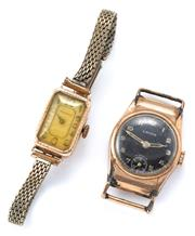 Sale 9029 - Lot 341 - TWO VINTAGE 9CT GOLD MANUAL WRISTWATCHES; Moeris 15 jewel, working, metal band, case wt. approx. 2.5g, a Lavina 17 jewel, with black...
