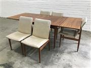 Sale 9056 - Lot 1043 - Vintage 6 Piece Teak Dining Suite inc Extension Table and 5 Upholstered Chairs (h:73 x w:132 x d:92cm)