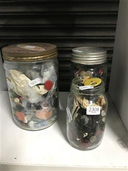 Sale 9101 - Lot 2308 - 3 Jars of Buttons