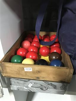 Sale 9101 - Lot 2118 - Two sets of snooker/pool balls together with a bag of Rugby World Cup 2011 caps