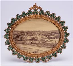 Sale 9185E - Lot 115 - Gilt and clover framed print of a view of Carcoar NSW, Width 27cm