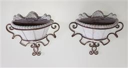 Sale 9188 - Lot 1729 - Pair of wall mountable planters in metal frame (h35cm)