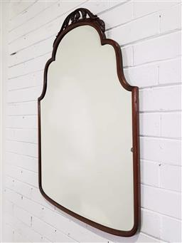 Sale 9188 - Lot 1511 - Timber bevelled edge shield shaped mirror (h96 x w66cm)