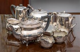 Sale 9195H - Lot 32 - A quantity of plated wares including jugs, trays and teapots