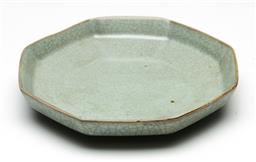 Sale 9209 - Lot 89 - Chinese octagonal Ru style dish in an olive glaze (Dia:16.5cm)