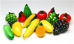 Sale 9209V - Lot 55 - A collection of glass fruit and vegetables (some chips to leaves on 3 pieces)