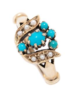 Sale 9221 - Lot 337 - A 9CT VICTORIAN STYLE TURQUOISE AND PEARL RING; stylised flower set with turquoise beads and seed pearls, width 11mm, size M, wt. 2....
