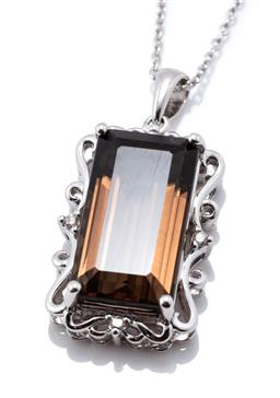 Sale 9253J - Lot 325 - AN SILVER SMOKY QUARTZ AND DIAMOND PENDANT NECKLACE; featuring an emerald cut smoky quartz of approx. 8.15ct to surround of round si...