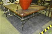 Sale 8227 - Lot 1076 - Walnut Timber Top Coffee Table with Russet Steel Base Finish