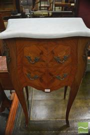 Sale 8317 - Lot 1058 - Good Pair of C18th Style Small Bombe Commodes with Marble Tops & two drawers with floral marquetry, the body stamped MP (some slight...