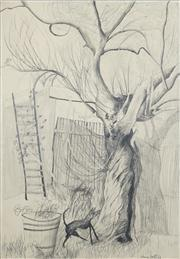 Sale 8466A - Lot 5088 - Anne Hall (1946 - ) - Dog by the Tree, 1968 101 x 70cm (sheet size)