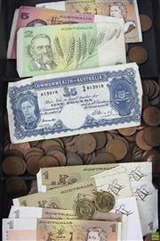 Sale 8551 - Lot 31 - Australian Bank Notes and Half Pennies, incl Five Shillings, 1, 2, & 5 Dollars, coins from 1916-64, plus $5 & $1 Coins