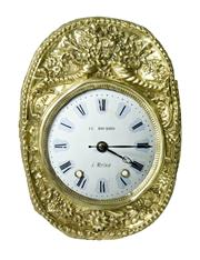 Sale 8828A - Lot 38 - Antique French clock dial and brass surround LE BOURHIS salvaged from a comtoise clock, refitted with a quartz movement 44 x 32cm