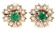 Sale 8905J - Lot 371 - A PAIR OF EMERALD AND PEARL FLORAL CLUSTER STUD EARRINGS; centring round cut emeralds to surrounds of seed pearls in 9ct gold, width...