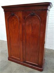 Sale 9085 - Lot 1022 - Good Victorian Yew Veneered Wardrobe, the arched panel doors with book-matched veneers including oysters & similar patterns to the d...