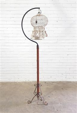Sale 9121 - Lot 1032 - Birdcage shade floor lamp on timber base & scrolled metal legs (h:189cm)