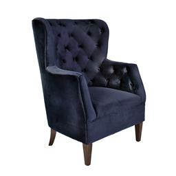 Sale 9140F - Lot 129 - A pair of navy blue velvet buttoned high back armchairs with timber legs. Dimensions: W77 x D79 x H108 cm