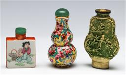 Sale 9156 - Lot 291 - Collection of three snuff bottles inc ceramic and resin