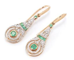 Sale 9182 - Lot 375 - A PAIR OF DECO STYLE 9CT GOLD GEMSET DROP EARRINGS; elongated drops each set with 2 round and 3 square cut emeralds and 9 round bril...