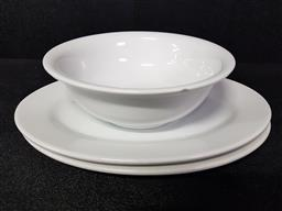 Sale 9254 - Lot 2218 - Two white oval ceramic plates together with a deep Dura Ware bowl