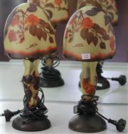 Sale 7950 - Lot 13 - Pair of Cameo Glass Mushroom Lamps in the Style of Galle