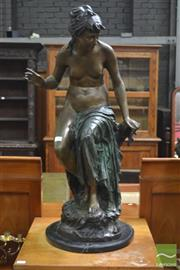 Sale 8317 - Lot 1049 - Classical Style Large Bronze Figure of seated female nude pan flute player on marble base, after Preguie