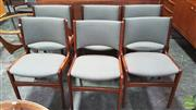 Sale 8395 - Lot 1067 - Set of Six Rosewood Upholstered Dining Chairs