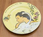 Sale 8470H - Lot 175 - A boxed set of 6 Gien faience plates from Musee Gauguin, together with 6 Fitz & Floyd, Jardin Rouge cake plates, 1979