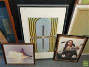 Sale 8548 - Lot 2065 - Group of (3) Decorative Prints: Aboriginal Dot Painting; Native Indian; Ship (framed/various sizes)