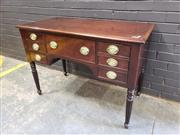 Sale 8993 - Lot 1038 - Sideboard in the Manner of George IV, with central deep drawer flanked by six shallow, raised on turned reeded legs (H: 80 x W: 113...