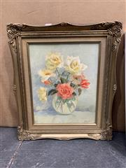 Sale 9008 - Lot 2060 - Jeanette Lemmone Still Life with Roses, oil on canvas on board, frame: 52 x 45 cm, signed lower right