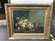 Sale 9045 - Lot 2089 - Artist Unknown Still Life with Roses, oil on Canvas ( AF-foxing & damage to frame), frame 72x88cm unsigned