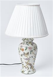 Sale 9080J - Lot 185 - A good ceramic lamp, the body painted with birds amidst floral boughs, fitted with a pleated shade. Ht: 60cm to top of shade.