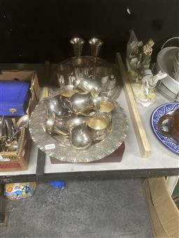 Sale 9101 - Lot 2412 - Collection of silver-plated wares including sterling silver container - crack to glass