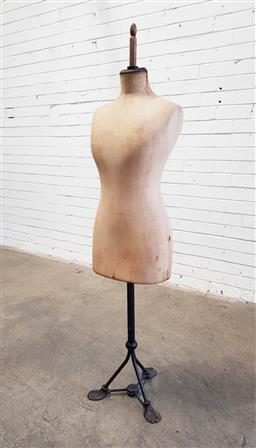 Sale 9126 - Lot 1114 - Early 20th Century French Fabric Mannequin, with cream fabric torso, the cast iron base marked E. Girard, Paris (h:157cm)