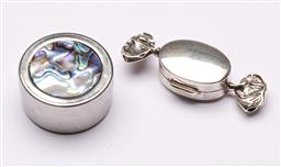 Sale 9119 - Lot 193 - A sterling silver candy pill box together with another paua shell topped example