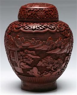 Sale 9138 - Lot 146 - Chinese Lacquered Red Lidded Ginger Jar, With Raised Mountain and River Design, (H: 20cm)