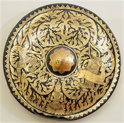 Sale 9164H - Lot 80 - An antique bronze temple gong with renewed 1960s lacquered decoration depicting reindeers, Diameter 53cm