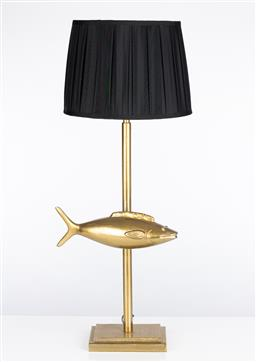 Sale 9245T - Lot 5 - A fish form lamp with black pleated shade, height 86cm