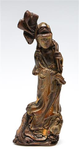 Sale 9255S - Lot 71 - A carved horn figure of Guanyin Height 26cm