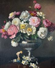 Sale 8000 - Lot 314 - Albert Sherman (1882 - 1971) - Peonies and Philadelphus oil on canvas