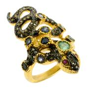 Sale 8060B - Lot 392 - A SILVER GILT SNAKE RING; set with an emerald, blue sapphires and table cut diamonds. Size M.